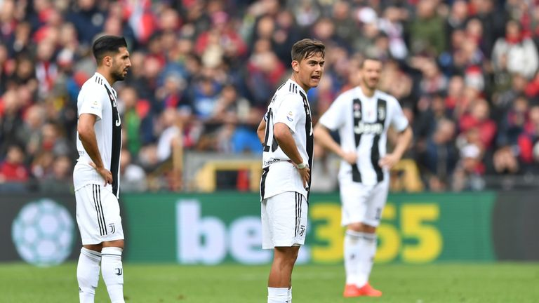 Juventus' Paulo Dybala looks dejected during the Serie A defeat to Genoa.