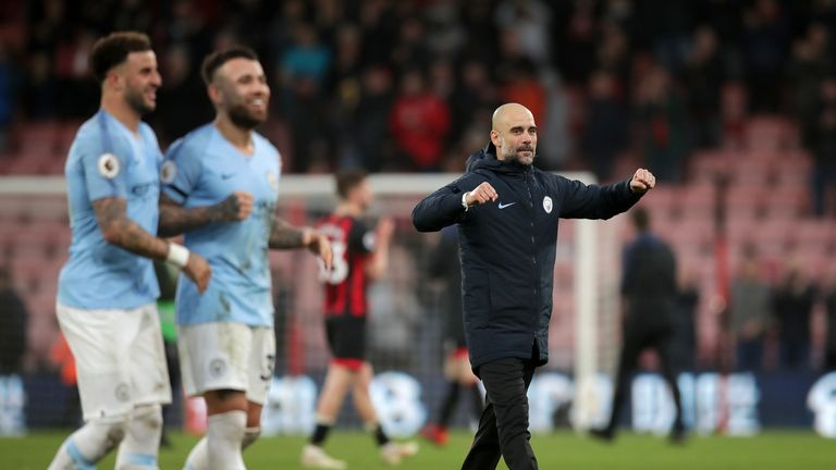 Manchester City boss Pep Guardiola pictured after their 1-0 win away to Bournemouth in the Premier League