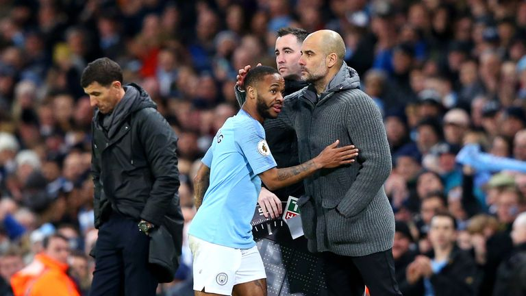 Pep Guardiola embraces Raheem Sterling as he comes off in the second half