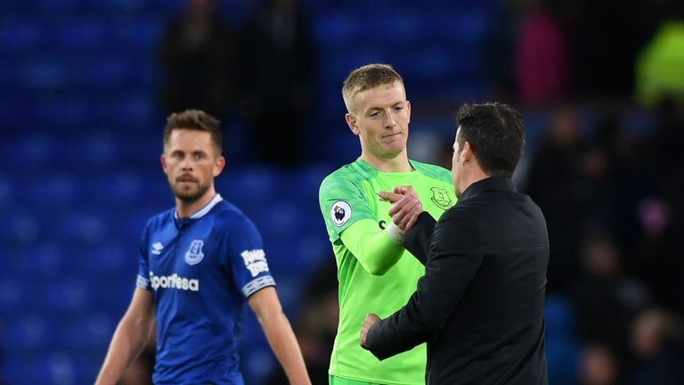 Marco Silva says he is working with Jordan Pickford to 'keep growing his emotional balance'
