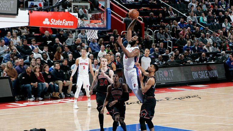 Andre Drummond of the Detroit Pistons goes to the basket against the Chicago Bulls
