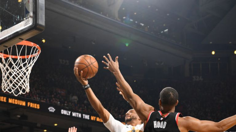 Norman Powell of the Toronto Raptors shoots the ball against the Portland Trail Blazers