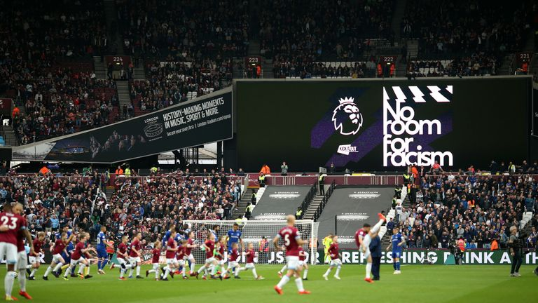 The Premier League highlighted their 'No Room For Racism' message this weekend at matches but multiple incidents occurred across the country