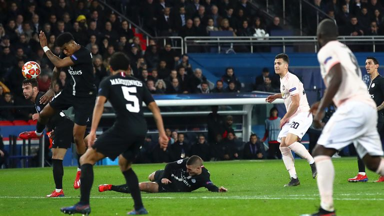 Presnel Kimpembe was penalised for this handball in Man Utd's win at PSG last month