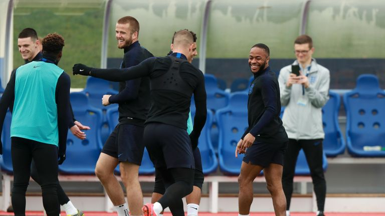 Raheem Sterling trained with the England squad on Thursday