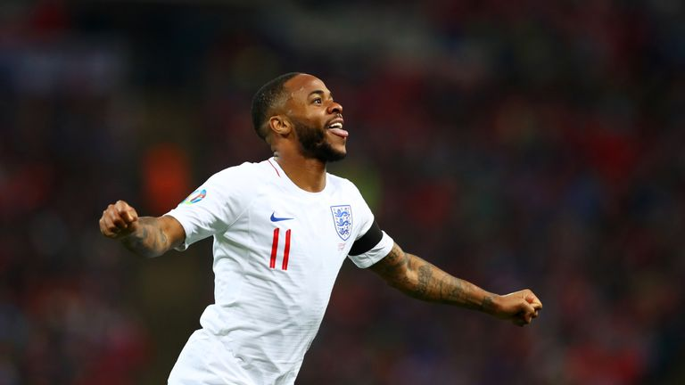 Raheem Sterling of England celebrates as he scores his team's fourth goal and completes his hat trick during the 2020 UEFA European Championships Group A qualifying match between England and Czech Republic at Wembley Stadium on March 22, 2019 in London, United Kingdom