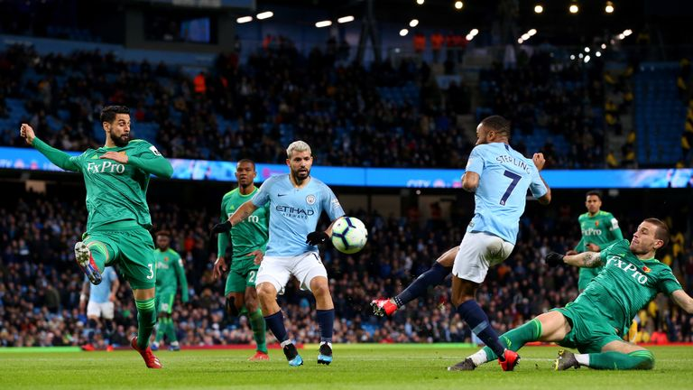 Raheem Sterling scores Manchester City's first goal of the game