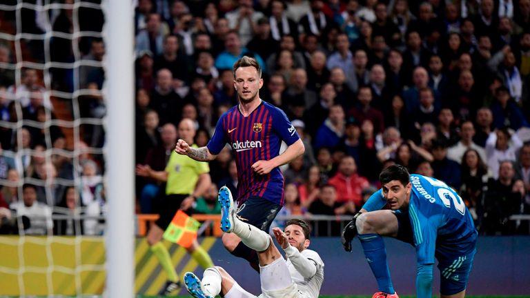 Ivan Rakitic chipped Barcelona ahead at Real Madrid