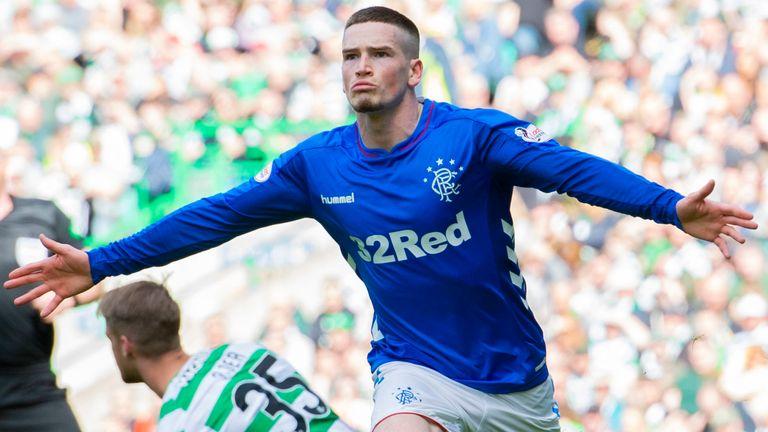 Ryan Kent celebrates scoring an equaliser for Rangers at Celtic