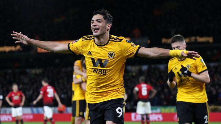 Wolves' Raul Jimenez celebrates scoring his side's first goal against Manchester United