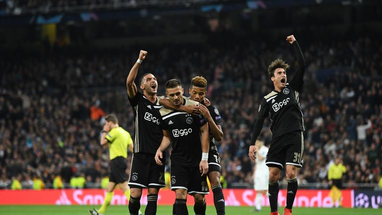 Dusan Tadic celebrates his goal for Ajax away to Real Madrid