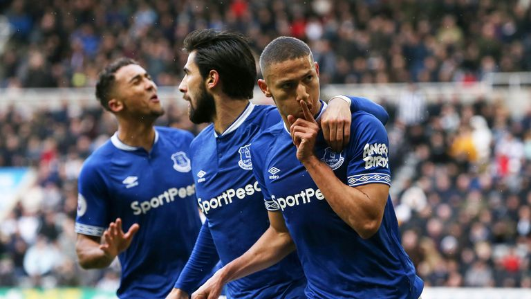 Richarlison puts a finger to his lips in celebration after doubling Everton's lead