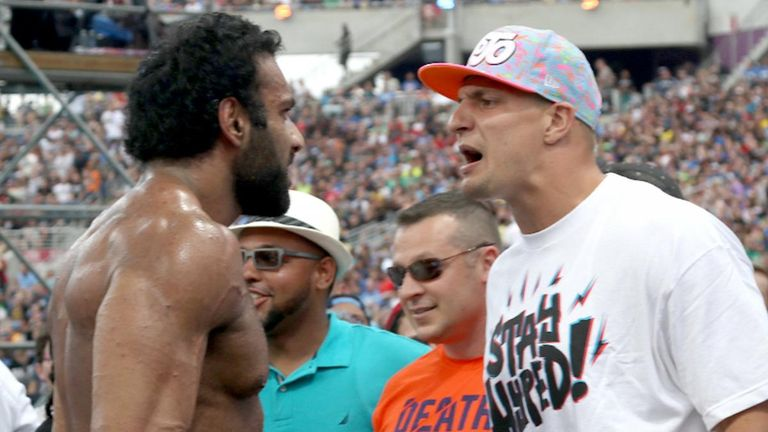 Rob Gronkowski was involved in an altercation with Jinder Mahal at WrestleMania 33