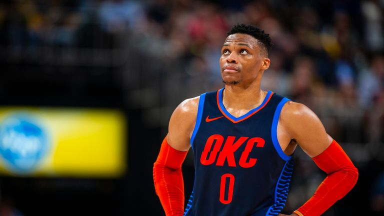Russell Westbrook #0 of the Oklahoma City Thunder looks on against the Indiana Pacers on March 14, 2019 at Bankers Life Fieldhouse in Indianapolis, Indiana