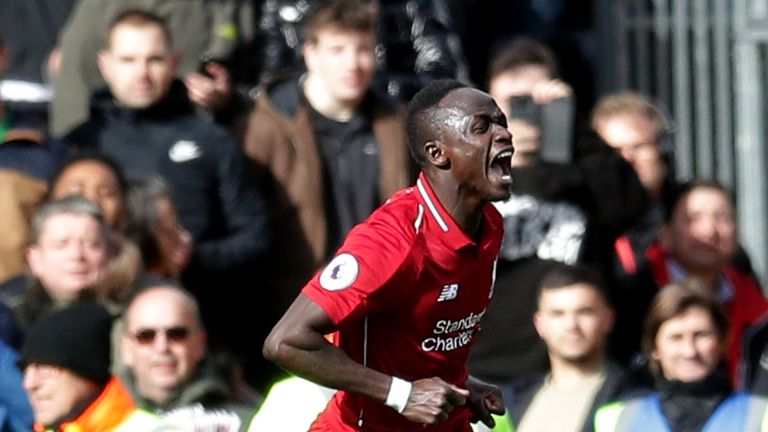Sadio Mane celebrates scoring against Fulham