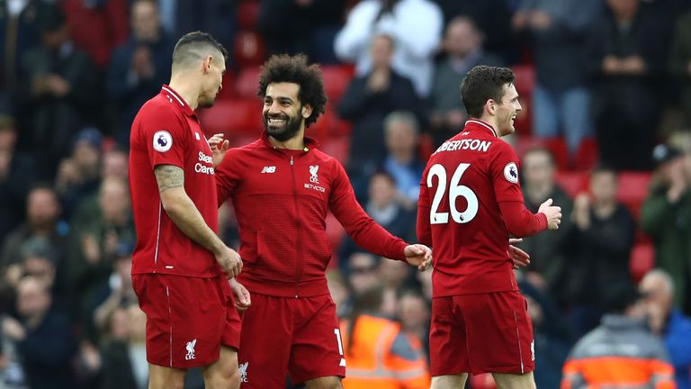 Mohamed Salah of Liverpool celebrates during the Premier League match between Liverpool FC and Tottenham Hotspur at Anfield on March 31, 2019 in Liverpool, United Kingdom