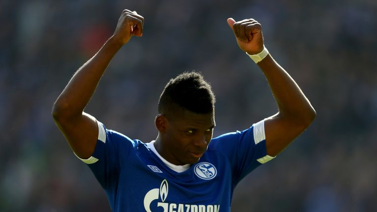 Breel Embolo of Schalke reacts during the Bundesliga match between Hannover 96 and FC Schalke 04 at HDI-Arena on March 31, 2019 in Hanover, Germany. (Photo by Martin Rose/Bongarts/Getty Images)