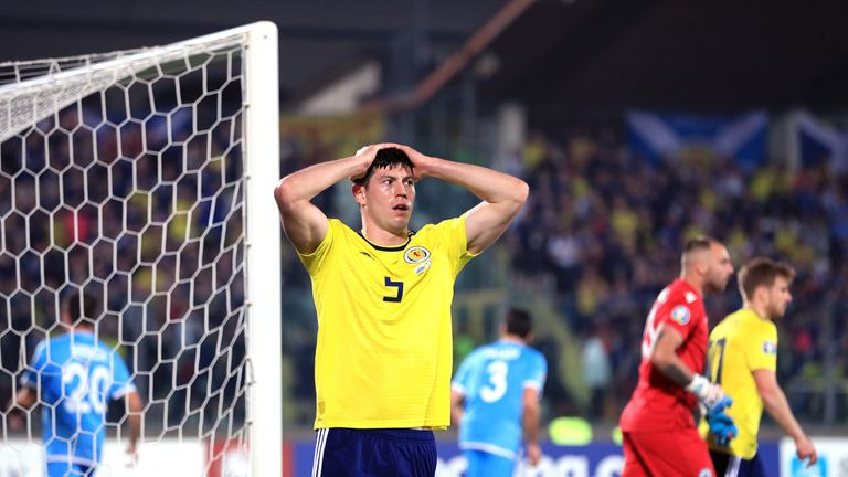 Scotland's Scott McKenna reacts to a missed chance in the second half