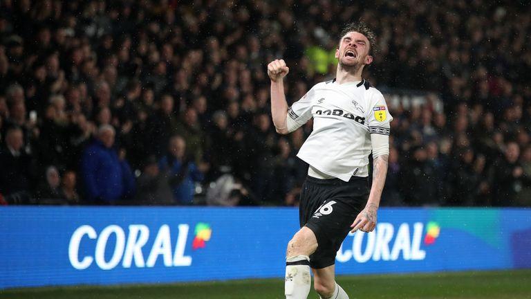 Scott Malone celebrates scoring the winner for Derby