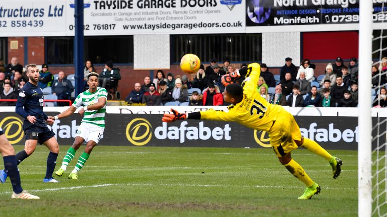 Scott Sinclair sees his shot saved by Dundee goalkeeper Seny Dieng