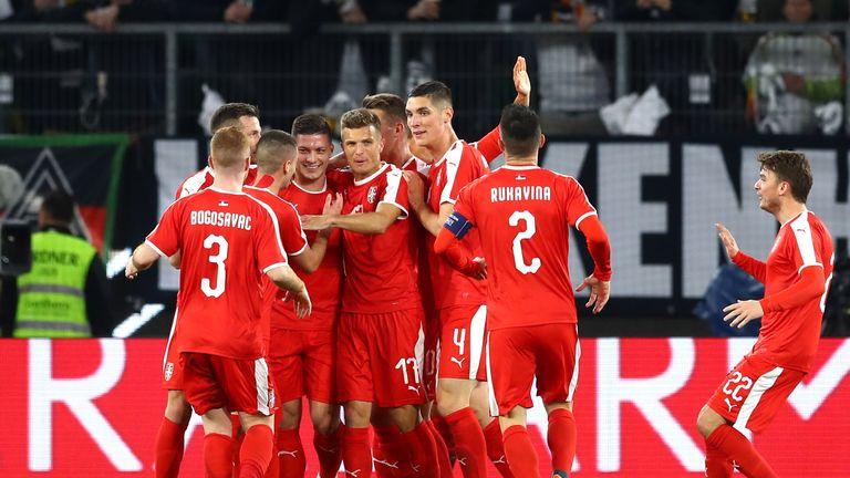Serbia celebrate Luka Jovic's goal against Germany