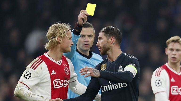 Ramos picked up a yellow card during the Champions League first leg against Ajax