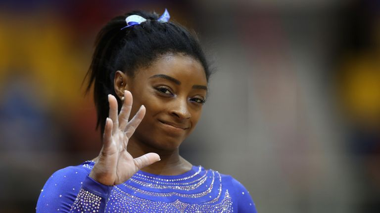 Simone Biles of USA looks on after the Women's Qualification during day three of the 2018 FIG Artistic Gymnastics Championships at Aspire Dome on October 27, 2018 in Doha, Qatar