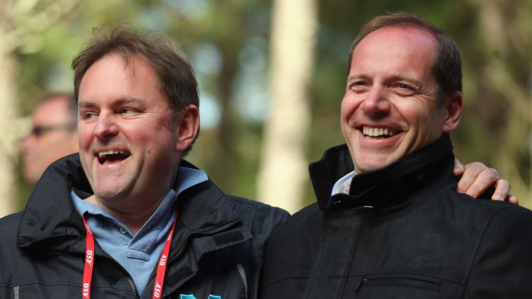Verity, left, and Tour de France director Christian Prudhomme
