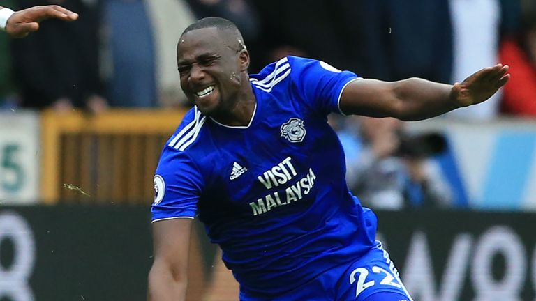 Sol Bamba goes down injured in Cardiff's 2-0 defeat to Wolves.