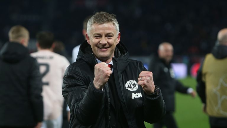 Solskjaer celebrates following Manchester United's 3-1 win over PSG in the Champions League in March 2019