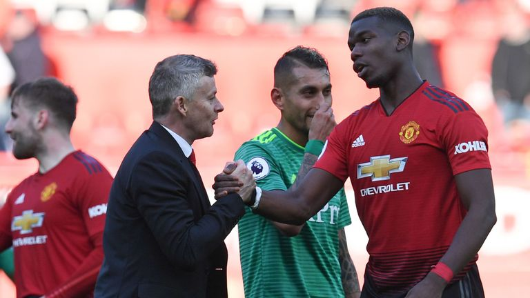 Solskjaer shakes hands with Paul Pogba after the match