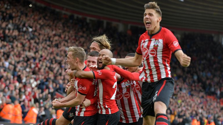 Southampton players celebrate after Ward-Prowse gives them a 2-1 lead