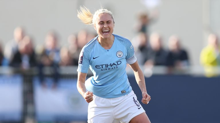 Steph Houghton of Manchester City celebrates after scoring their first goal during the SSE Women's FA Cup match between Tottenham Hotspur Ladies and Manchester City Women at Cheshunt Football Ground on February 17, 2019 in Cheshunt, England