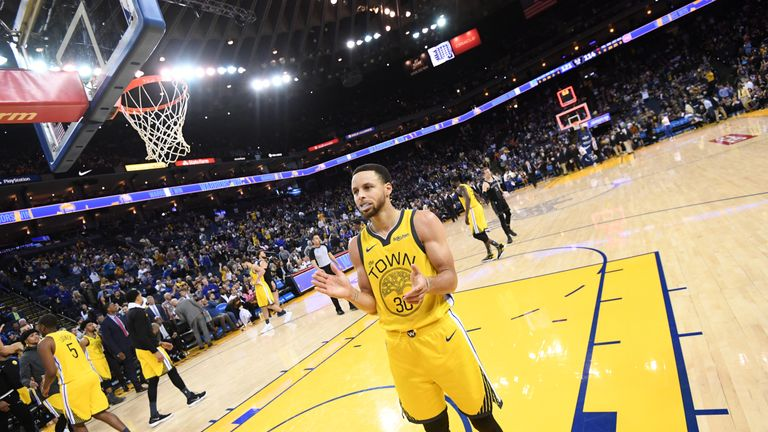 Stephen Curry #30 of the Golden State Warriors reacts after a game against the Detroit Pistons on March 24, 2019 at ORACLE Arena in Oakland, California.