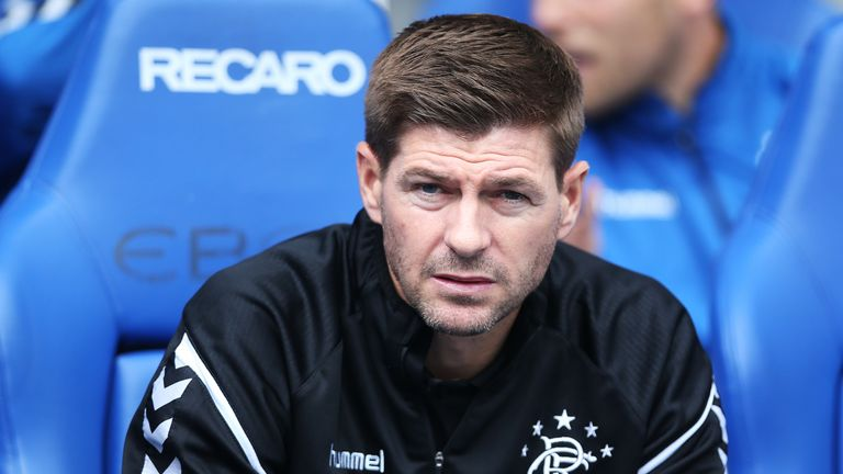 GLASGOW, SCOTLAND - JULY 29: Rangers manager Steven Gerrard is seen during the Pre-Season Friendly match between Rangers and Wigan Athletic at Ibrox Stadium on July 29, 2018 in Glasgow, Scotland. (Photo by Ian MacNicol/Getty Images)