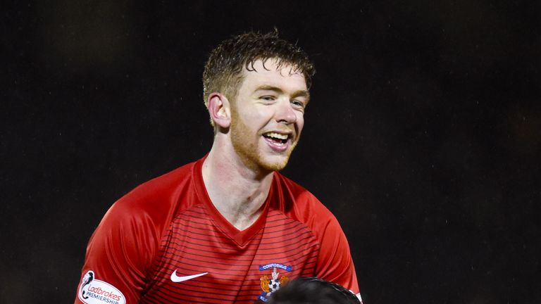 Stuart Findlay celebrates after his man of the match performance in the win against St Mirren on Monday