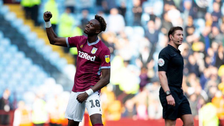 Tammy Abraham celebrates scoring for Aston Villa