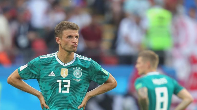Thomas Muller during the 2018 FIFA World Cup Russia group F match between Korea Republic and Germany at Kazan Arena on June 27, 2018 in Kazan, Russia.