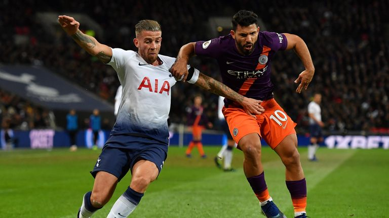Toby Alderweireld and Sergio Aguero battle for possession during Tottenham vs Manchester City at Wembley