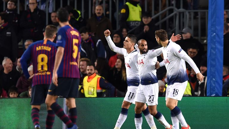 Tottenham drew with Barcelona in the group stages of the Champions League