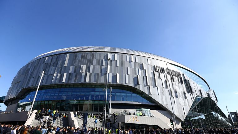 An exterior view of Tottenham Hotspur Stadium ahead of the U18s Premier League match between Tottenham Hotspur and Southampton