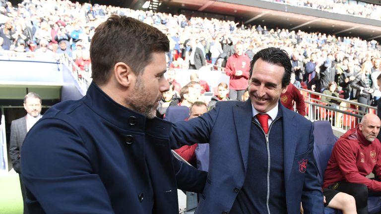 Unai Emery greets Mauricio Pochettino at Wembley