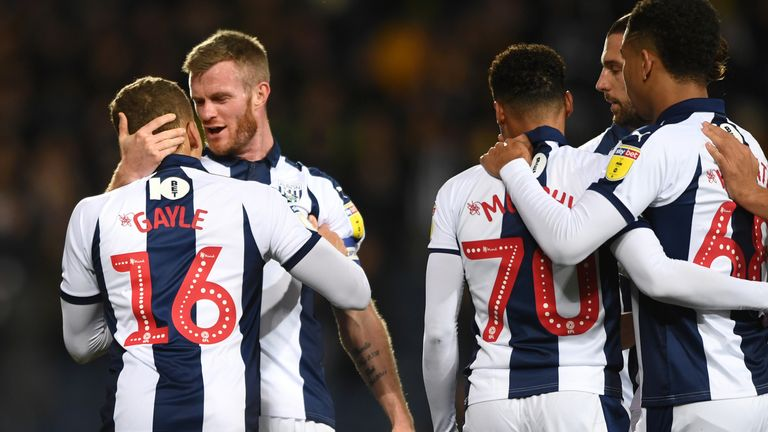 West Brom celebrate their opening goal