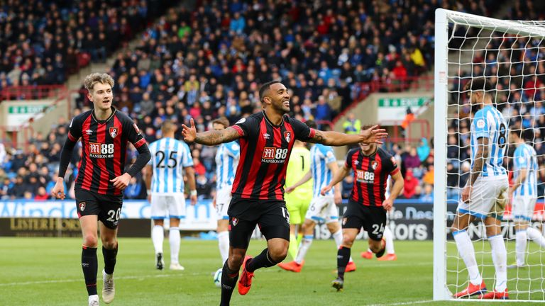 Bournemouth's Callum Wilson celebrates his first goal since returning from injury