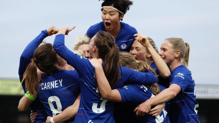 Chelsea Women celebrate a goal against Everton Women in the Women's Superleague