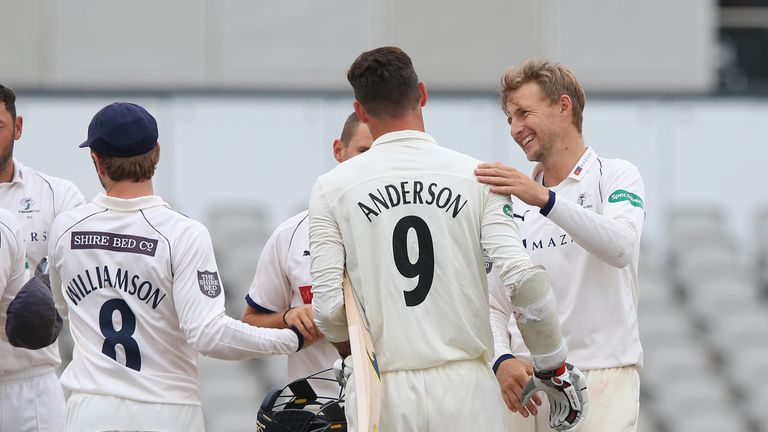 of Yorkshire of Lancashire during the Specsavers Championship Division One match between Lancashire and Yorkshire at Old Trafford on July 24, 2018 in Manchester, England.