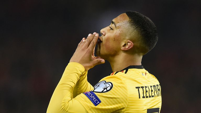 Youri Tielemans celebrates his goal for Belgium against Russia on Thursday