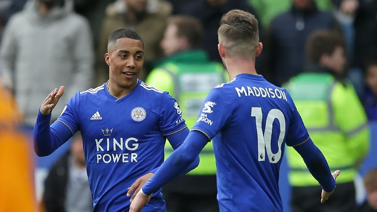 Youri Tielemans celebrates with James Maddison after giving Leicester the lead