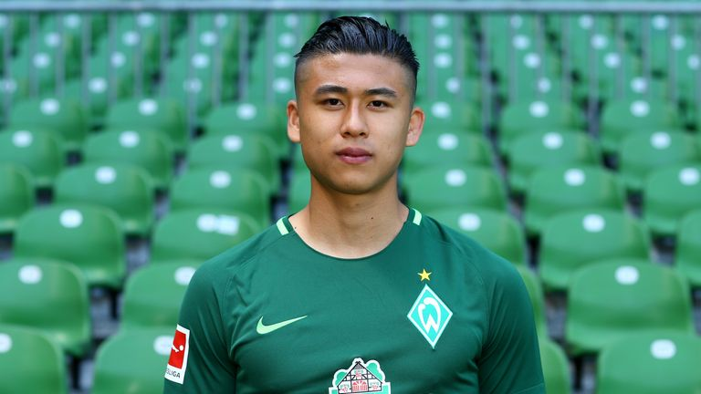 Zhang Yuning of Werder Bremen poses during the team presentation at Weser Stadium on July 19, 2017 in Bremen, Germany.
