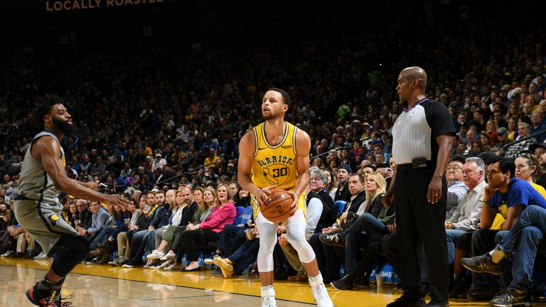 Stephen Curry sets himself for a three-pointer against Indiana
